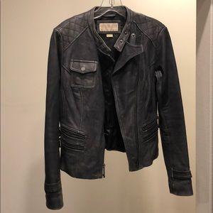 Michael Kors grey leather coat, XS, needs repair